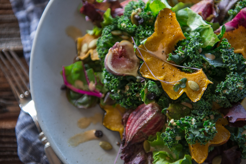 Allspice roasted squash with figs beets kale spiced tahini dressing