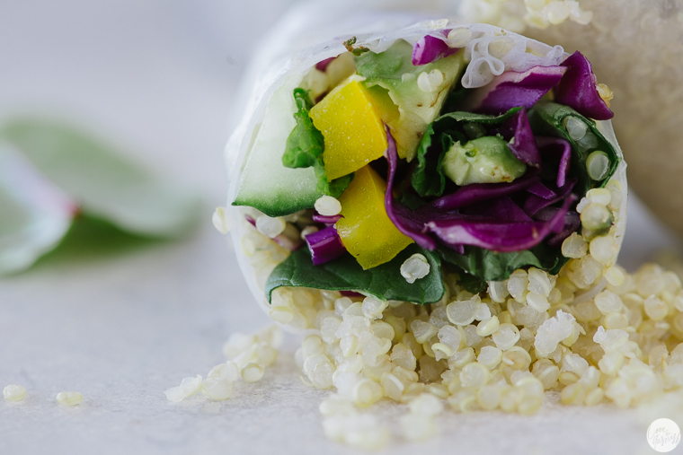 quinoa salad rolls miso sauce