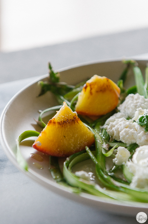 burrata asparagus salad basil peaches white balsamic