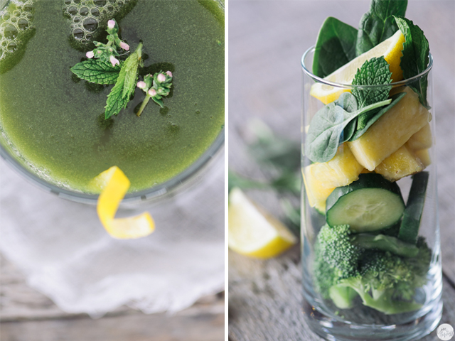 green juice collage
