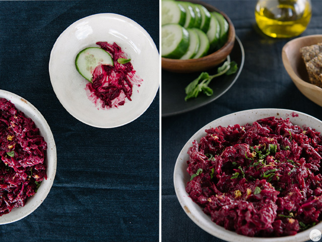 beet dip with mint lemon garlic collage