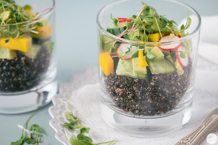 lime ginger quinoa salad avocado mango cucumber radish