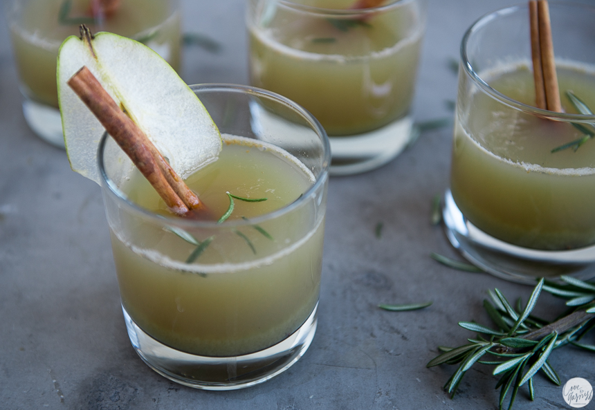 immune boosting winter pear ginger rosemary cider holiday cocktail