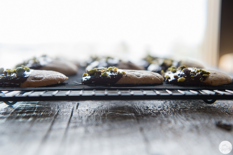 chocolate dipped peppermint and dark chocolate cookies with pistachios