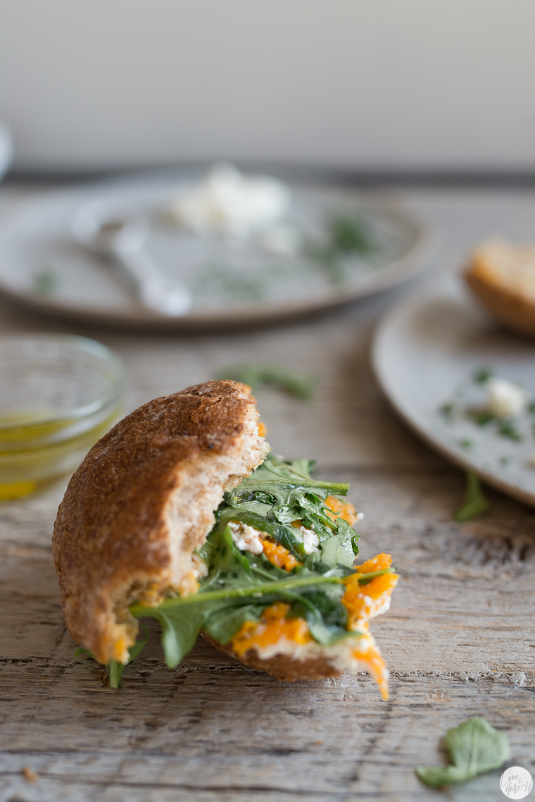 Maple Squash and Homemade Ricotta Sandwich with Arugula and Truffle Oil