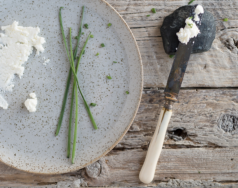 Homemade Ricotta and Chives details