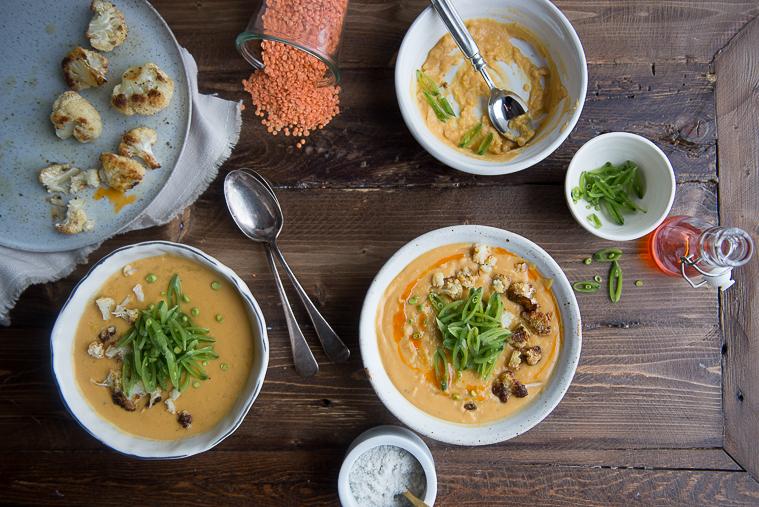 lentil cauliflower soup with chilli oil