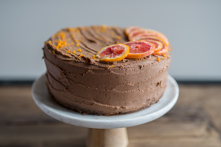 Double layer Chocolate Cardamom Cake with Spiced Vanilla Tea & Blood Orange Chocolate Ganache