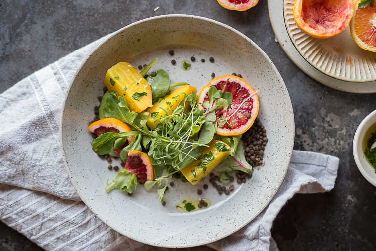 golden beet blood orange and lentil salad with orange gremolata dressing