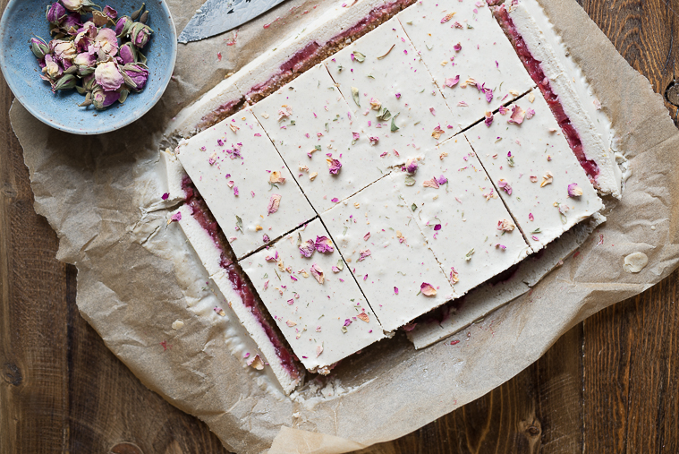 Lemon Coconut Squares with Rose-Water Stewed Rhubarb