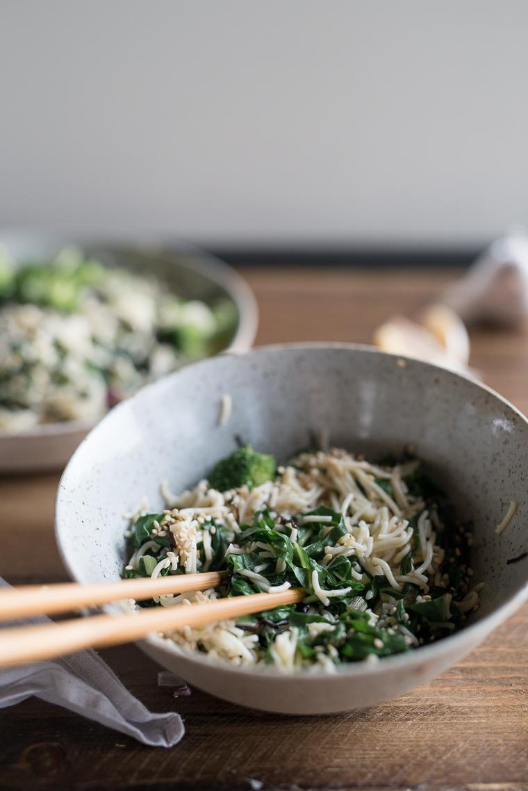 Asian gluten free brown rice ramen garlic greens kale swiss chard broccoli aramame seaweed soy sesame