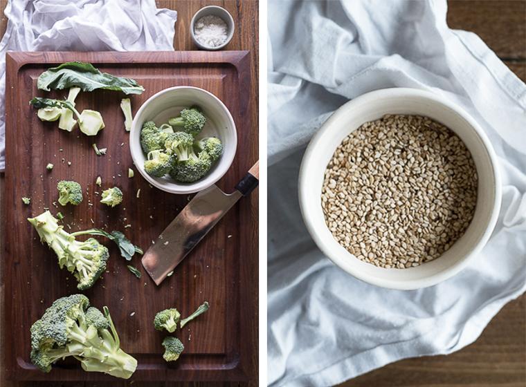 Asian gluten free rice ramen with garlicky greens kale swiss chard broccoli aramame seaweed