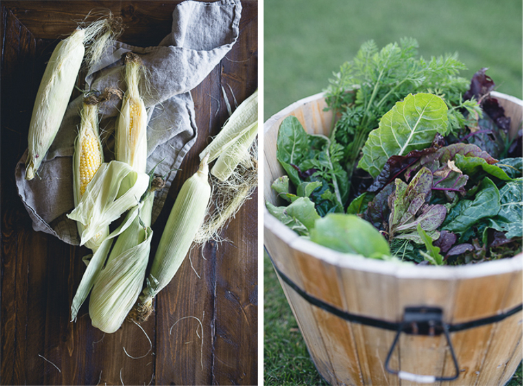 summer corn and greens